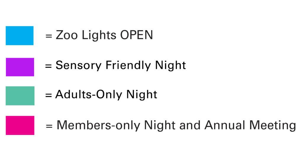 Dallas Zoo Lights calendar key